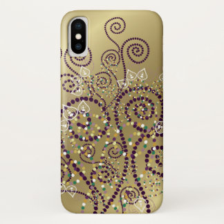 Elegant Purple Boho Deco Artistic Spirals Casing iPhone X Case