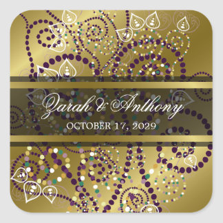 Elegant Purple Boho Spirals Gold Wedding Stickers