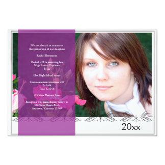 Elegant Purple Border Photo Graduation 13 Cm X 18 Cm Invitation Card