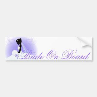 Elegant Purple  bride silhouette Bridal Shower Bumper Sticker