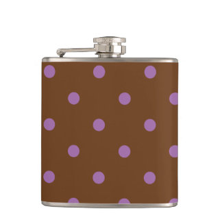 elegant purple brown polka dots hip flask