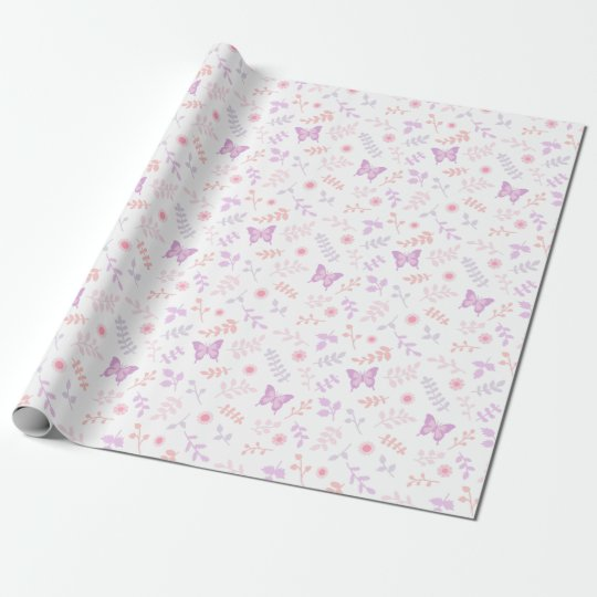 Elegant Purple Butterfly Floral Pattern Wrapping Paper