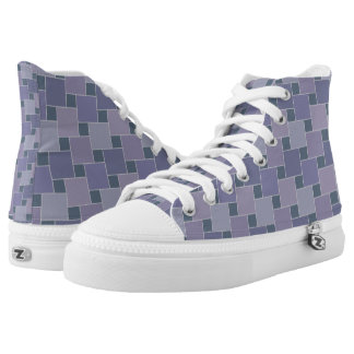 Elegant Purple Checkers High Top Shoes-US Women