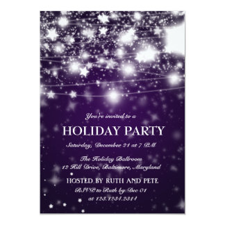 Elegant Purple Christmas Party Shining Stars 13 Cm X 18 Cm Invitation Card