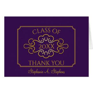 Elegant Purple College Graduation Thank You Card