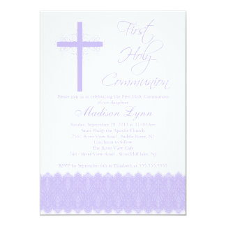 Elegant Purple Cross First Holy Communion Card