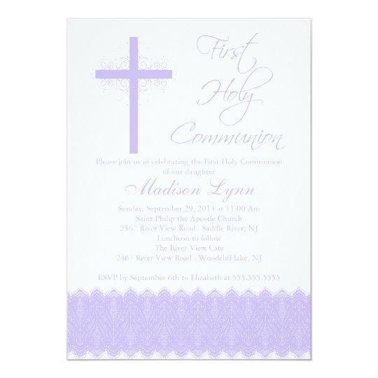 Elegant Purple Cross First Holy Communion Card
