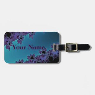 Elegant Purple Cyan Fractal Collection Bag Tag