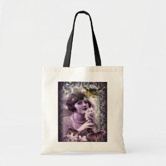 elegant purple damask butterfly paris Vintage Lady Tote Bags