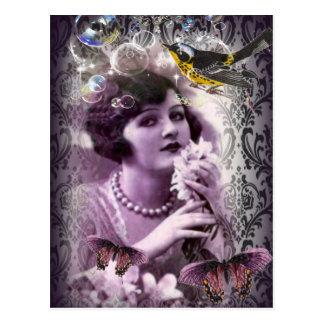 elegant purple damask butterfly paris Vintage Lady Postcard