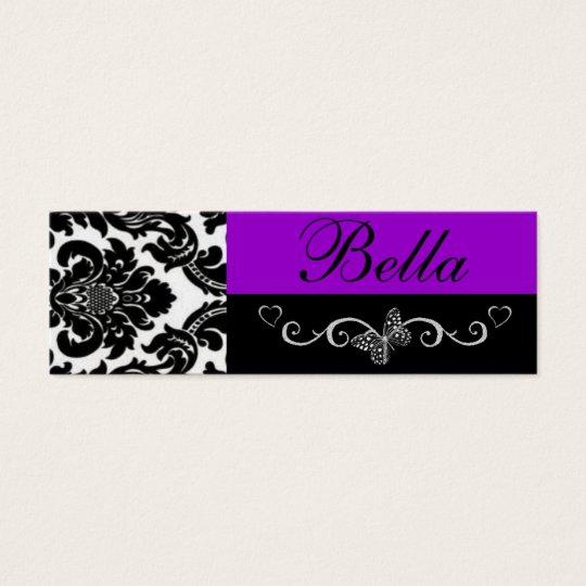 Elegant purple damask design mini business card