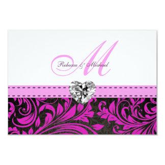 Elegant Purple Damask  Monogram Wedding RSVP Cards Invitation