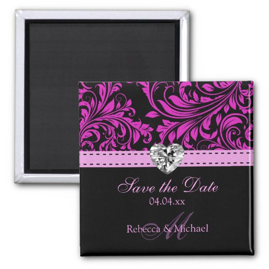 Elegant Purple Damask Save the Date Magnets