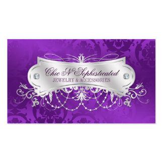 Elegant Purple Damask Swirl Business Card Template