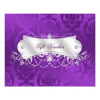 Elegant Purple Damask Swirl Gift Voucher Flyer