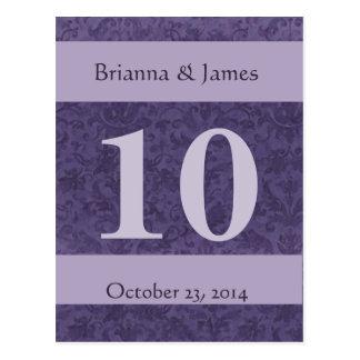 Elegant Purple Damask Wedding Table Number Postcard