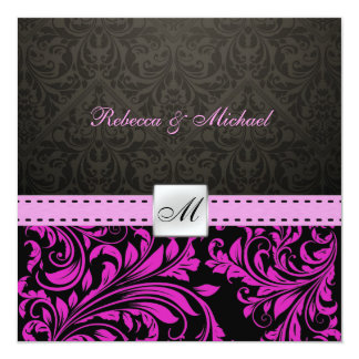 Elegant Purple Damask with Monogram Wedding Invite