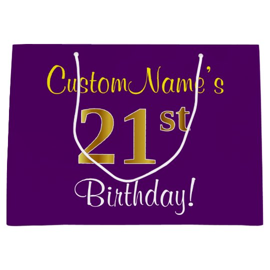 Elegant Purple Faux Gold 21st Birthday Name Large Gift Bag