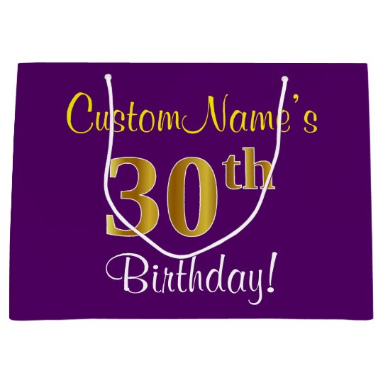 Elegant Purple Faux Gold 30th Birthday Name Large Gift Bag