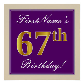 Elegant, Purple, Faux Gold 67th Birthday + Name Poster