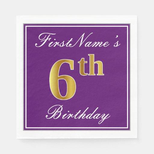 Elegant Purple, Faux Gold 6th Birthday + Name Disposable