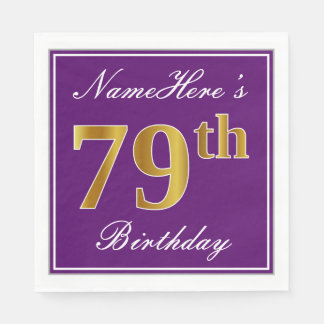 Elegant Purple, Faux Gold 79th Birthday + Name Paper Napkins