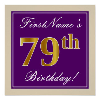 Elegant, Purple, Faux Gold 79th Birthday + Name Poster