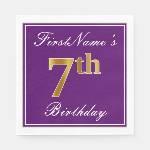 Elegant Purple, Faux Gold 7th Birthday + Name Paper Napkin