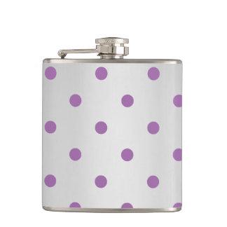 elegant purple faux  silver polka dots hip flask