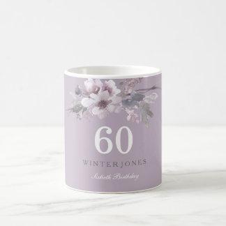 Elegant Purple Floral 60th Birthday Party Gift Coffee Mug