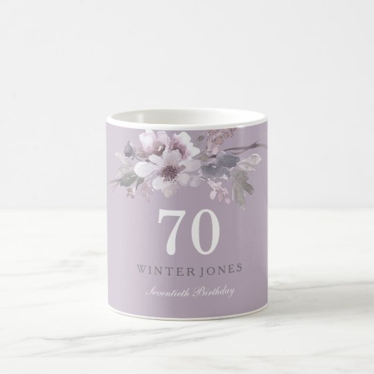 Elegant Purple Floral 70th Birthday Party Gift Coffee