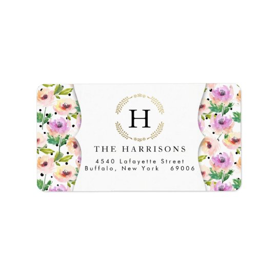 Elegant Purple Floral Dalmatian Dots Personalised Address Label