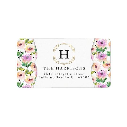 Elegant Purple Floral Dalmatian Dots Personalised Label