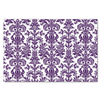 Elegant Purple Floral Damasks White Background Tissue Paper