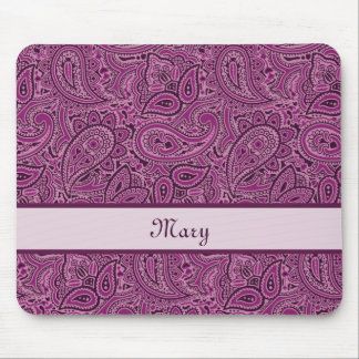 Elegant Purple Floral Paisley Pattern With Name Mouse Mat