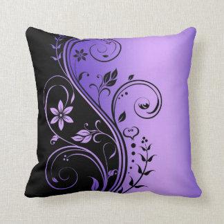 Elegant Purple Floral Scroll Black Pillow