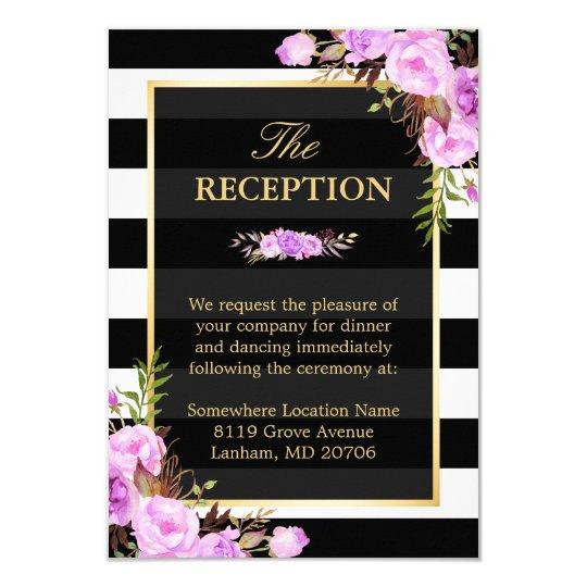 Elegant Purple Floral Stripes Wedding Reception Card
