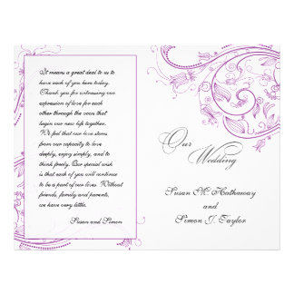 Elegant Purple Floral Wedding Program Flyer