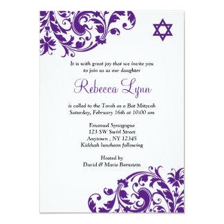 Elegant Purple Flourish Bat Mitzvah 13 Cm X 18 Cm Invitation Card