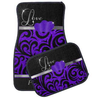 Elegant Purple Glitter Love Car Mat