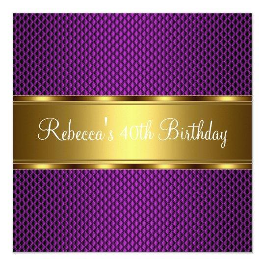 Elegant Purple Gold 40th Birthday Party Card