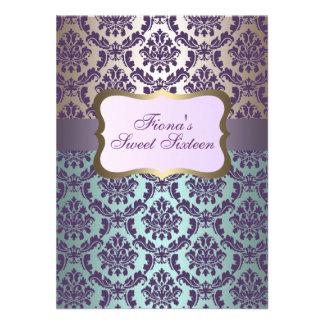 Elegant Purple Gold Blue Damask Birthday Invite