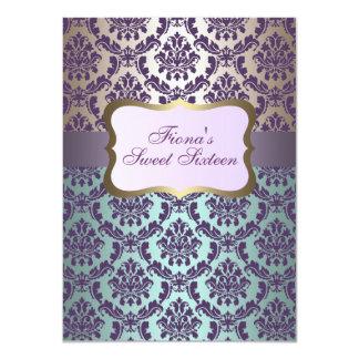 "Elegant Purple Gold & Blue Damask Birthday Invite 4.5"" X 6.25"" Invitation Card"