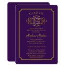 Elegant Purple   Gold College Graduation Party Card
