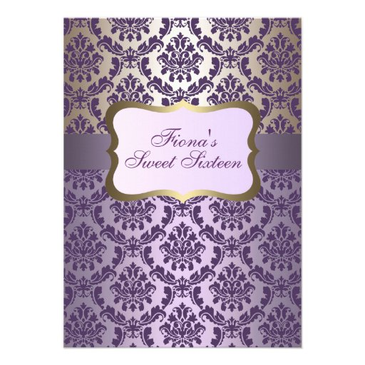 Elegant Purple & Gold Damask Birthday Invite