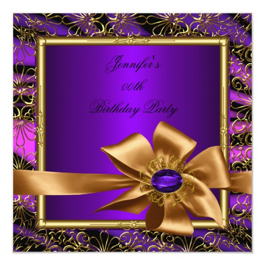 Elegant Purple Gold Jewel image Birthday Party Card