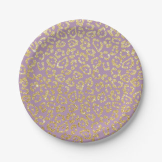 Elegant Purple & Gold Leopard Print Paper Plate
