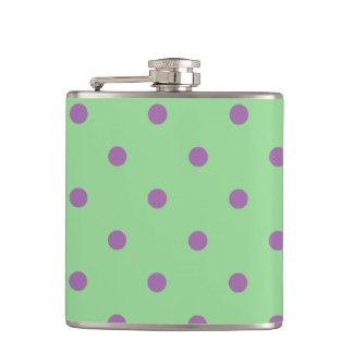 elegant purple green polka dots hip flask