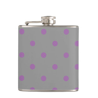 elegant purple grey polka dots hip flask