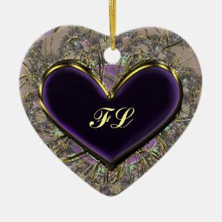 Elegant Purple Heart Monogrammed Ornament